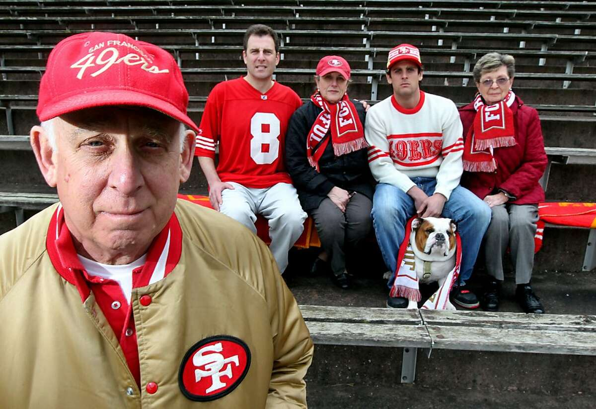 Henry Gross II and members of his family that include L to R son David Gross, wife Nancy Gross, son Author Gross with his dog Otis and cousin Louise Milford have been 49ers season ticket holder since 1950 and have attended all three Super Bowls and playoff games Saturday March 10, 2012.