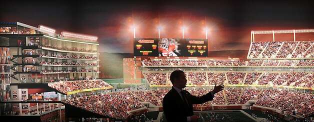 Al Guido, vice president for new stadium sales and service with the 49ers, shows a rendering at the team's New Stadium Preview Center in Santa Clara, Calif., on Tuesday, Sept. 27, 2011. Photo: Noah Berger, Special To The Chronicle