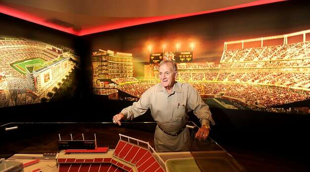 John McVay, former 49ers general manager, stands among stadium renderings at the team's New Stadium Preview Center in Santa Clara, Calif., on Tuesday, Sept. 27, 2011. Photo: Noah Berger, Special To The Chronicle