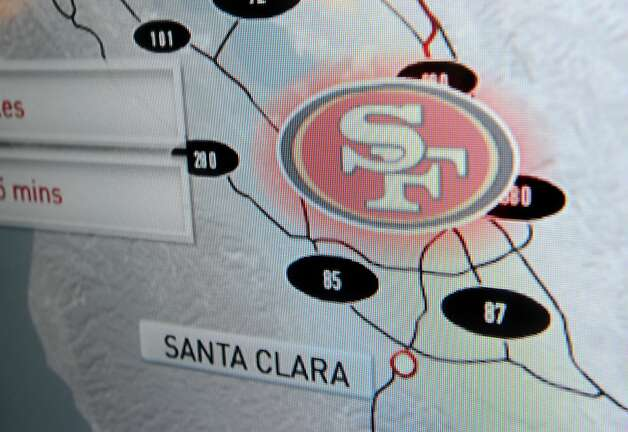 A graphic displays the 49ers' stadium location at the team's New Stadium Preview Center in Santa Clara, Calif., on Tuesday, Sept. 27, 2011. Photo: Noah Berger, Special To The Chronicle