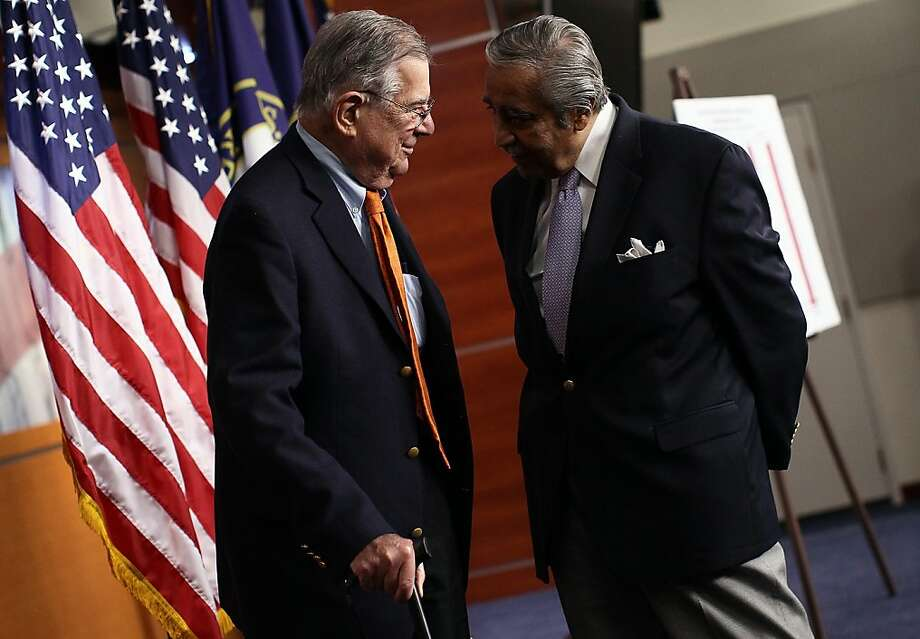 House Ways and Means Committee Democrats (L-R) Rep. Pete Stark (D-CA) and Rep. Charles Rangel (D-NY) talk after a press conference on unemployment insurance at the U.S. Capitol November 3, 2011 in Washington, DC. Democrats will be introducing an unemployment insurance extension bill soon to curtail the possibility of unemployment benefits expiring in 2012. Photo: Win McNamee, Getty Images