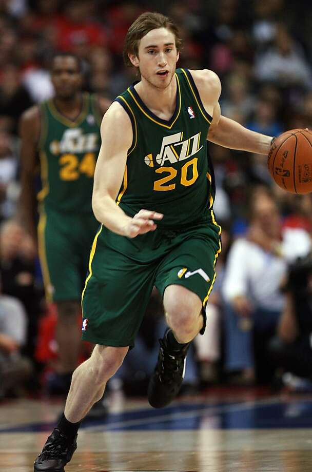 Utah Jazz forward Gordon Hayward makes his way down the court after getting a rebound during a NBA basketball game against Los Angeles Clippers in Los Angeles, Saturday, March 31, 2012. The Clippers won 105-96. (AP Photo/Ringo H.W. Chiu) Photo: Ringo H.W. Chiu, Associated Press