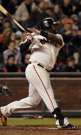 Pablo Sandoval watches the flight of his double in the fifth inning. The San Francisco Giants played the Philadelphia Phillies at AT&T Park in San Francisco, Calif., on Tuesday, April 17, 2012, and defeated the Phillies 4-2. Photo: Carlos Avila Gonzalez, The Chronicle