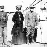 Dr. Leonie von Zesch, second from left, and colleagues outside the post-quake emergency medical tent at the Presidio, April 1906. On back of photo: from left, Sergeant Cornelius, hospital steward, myself; Dr. Springwater, surgeon, and Mrs. Cornelius at Emergency Hospital, Presidio 1906. (unknown / Jane G. Troutman Family Trust)