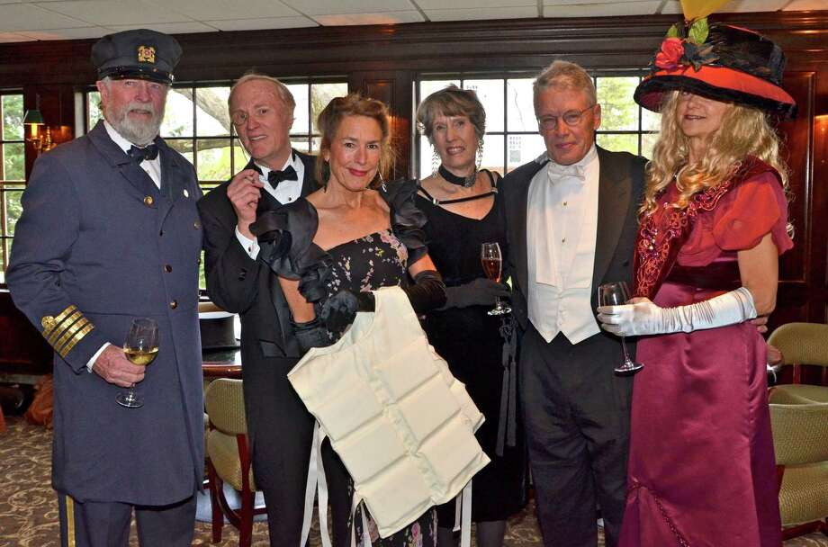 All aboard the ship Titanic:  Fred Bisset, Bill King, Christine Glidden, Lizzie Glidden Boyle, Charles England, and Osa Bisset, at the Roger Sherman Inn last Saturday evening, April 14, 2012. Photo: Jeanna Petersen Shepard