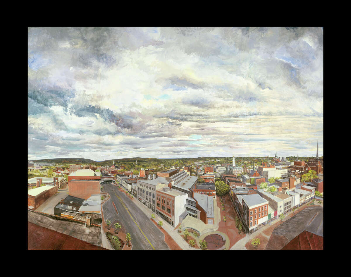 CHAFFER HEIGHTS ?SCHENECTADY FROM the Roof of the Parker Inn? (oil on linen) is among the works by Gail Kort on display at the Schaffer Heights Lobby Gallery, Schenectady, through April