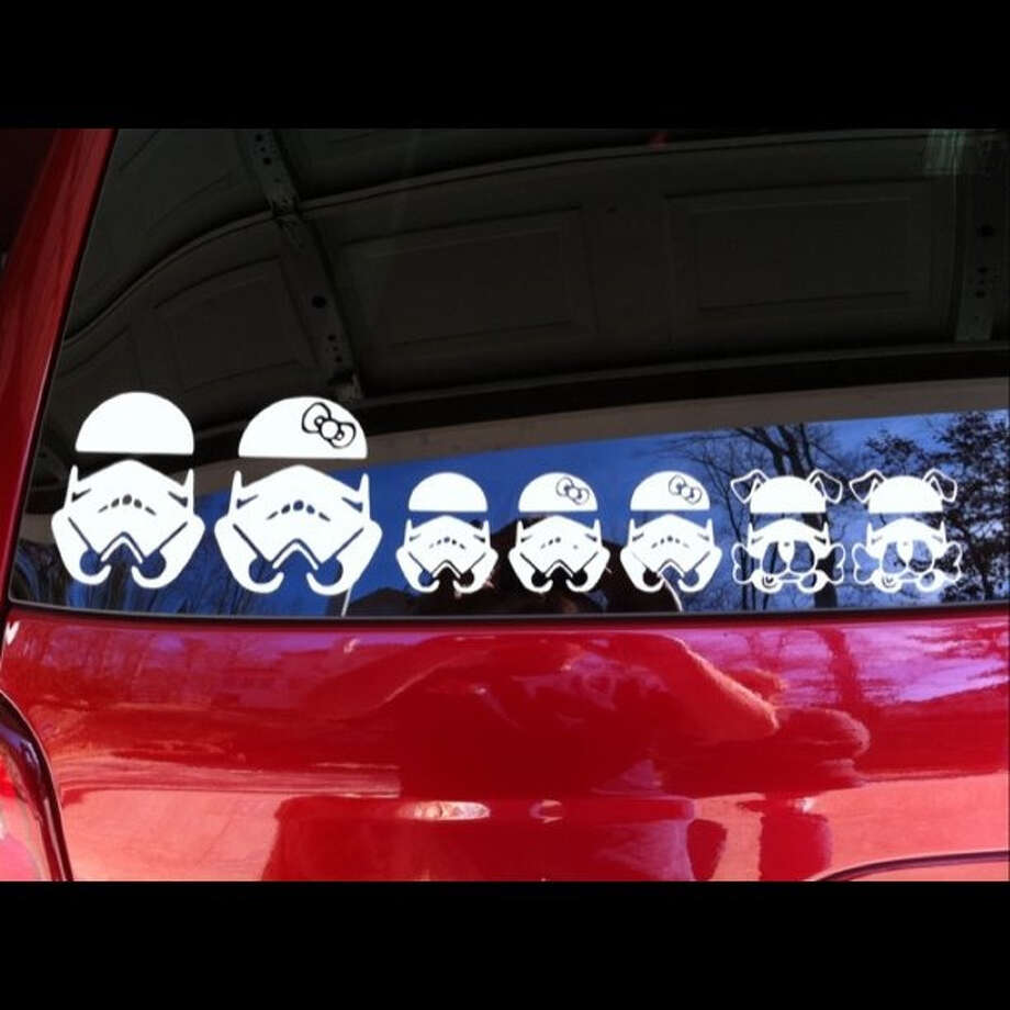 Symbols from Star Wars are used in these Storm Trooper family vehicle stickers, a variation on the stickers placed on back windshields to represent parents and kids. Photo: Strompooper, Flickr Creative Commons
