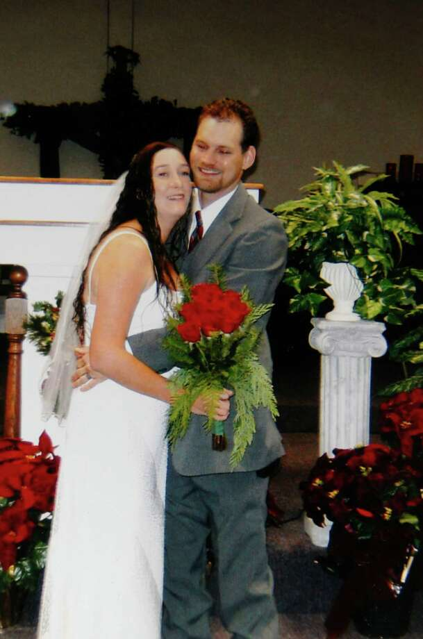 Provided photo of Keith Schuchard and his wife, Kala Marie Golden, of their wedding three years ago in December. Verna McClain, 30, was charged early Wednesday in the killing of Kala Marie Golden, according to the Montgomery County Sheriff's Office. McClain reportedly shot and killed Golden then abducted her son Keegan as they were on their way to a doctor appointment in Spring. Photo: Johnny Hanson, Houston Chronicle / © 2012  Houston Chronicle