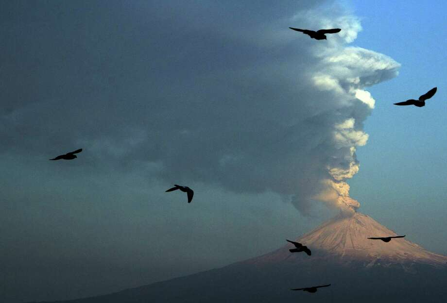 Birds fly in the foreground as a plume of ash and steam rise from Popocatepetl volcano as seen from San Andres Cholula, Mexico, Wednesday April 18, 2012. Mexico's Popocatepetl volcano is continuing to spout gases and hot rock fragments and it is dusting towns on its flanks with volcanic ash. Photo: AP