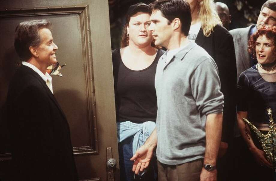 ABC11(4/21/98)--DHARMA & GREG 'Invasion of the Buddy Snatchers'-- Dharma befriends Greg's poker buddies, counseling them about everything from bankruptcy to impotence , on 'Dharma & Greg,' WEDNESDAY, MAY 20, (8:30-9:00 p.m. ET), on the ABC Television Network.  Dick Clark (left) Guest Stars. Photographer: JERRY FITZGERALD L TO R: DICK CLARK, DOT-MARIE JONES,THOMAS GIBSON, SHAE D'LYN (JERRY FITZGERALD / ABC)