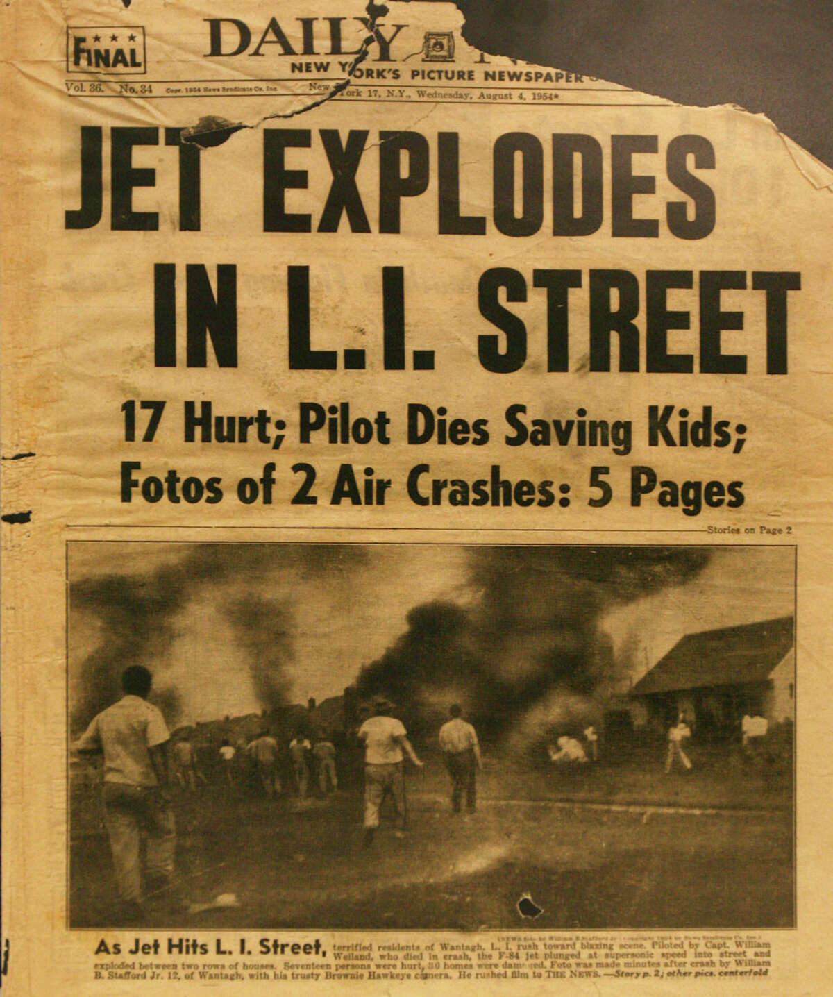 The front page of the New York Daily News on Aug. 4, 1954, with the plane-crash photo that launched Bill Stafford's photography avocation. He was 12 years old.