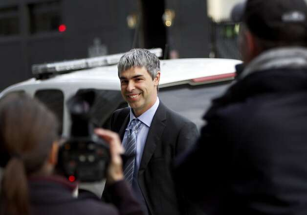 Google CEO Larry Page arrives at federal court to testify in the case alleging that Google stole Oracle's intellectual property when developing its popular Android mobile operating system in San Francisco, Calif., Wednesday, April 18, 2012. Photo: Sarah Rice, Special To The Chronicle