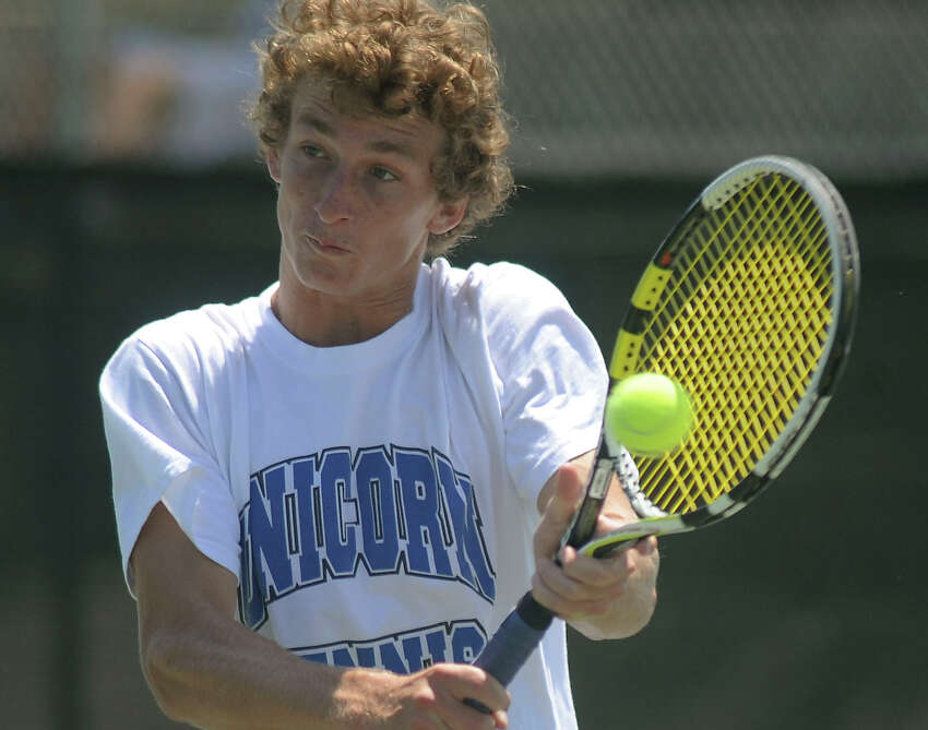 Tucker Brown of the New Braunfels boys doubles team of Brown/Sanoja returns the ball during the Region IV-5A tennis tournament at the McFarlin Tennis Center on Wednesday, April 18, 2012. Billy Calzada / San Antonio Express-News