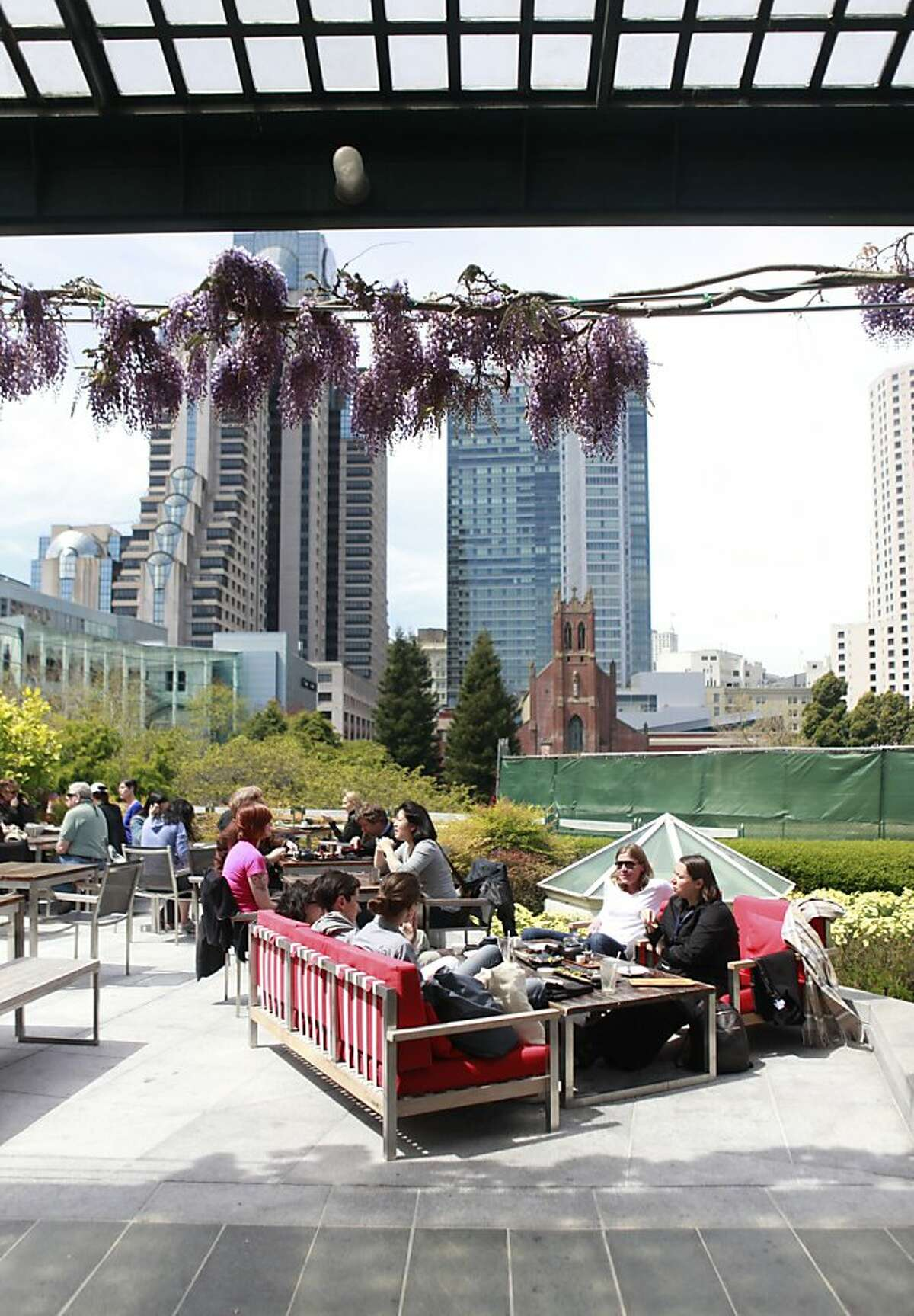 Outdoor dining terrace at the Yerba Buena Gardens and Metreon in San Francisco, California on Wednesday, April 18th, 2012