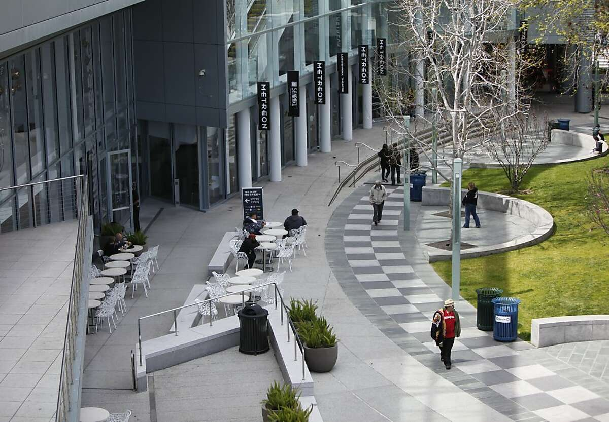 Outdoor dining terrace at the Metreon in San Francisco, California on Wednesday, April 18th, 2012