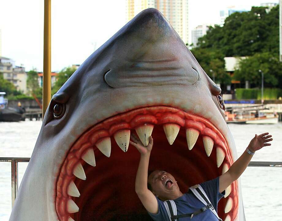 A tourist plays with a model of a giant shark in front of a shopping mall in Bangkok, Thailand Tuesday, April 17, 2012. Photo: Sakchai Lalit, Associated Press