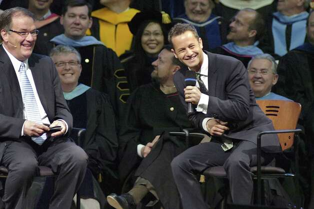 Now: Actor and Christian evangelist Kirk Cameron (at right) jokes with the audience as he talks about his life, his work and his conversion to Christianity during the Society of World Changers ceremony on April 11, 2012, at Indiana Wesleyan University's Chapel Auditorium in Marion, Ind. Photo: Jeff Morehead, AP / Marion Chronicle-Tribune