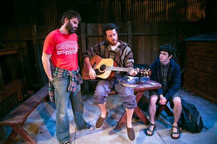 """Haynes Thigpen (left) as KJ and Peter O Connor (center) as Jasper celebrate the Fourth of July with Brian Miskell (right) as Shelmerdine in Annie Baker's """"The Aliens"""" at SF Playhouse. Photo by Jessica Palopoli Photo: Jessica Palopoli"""