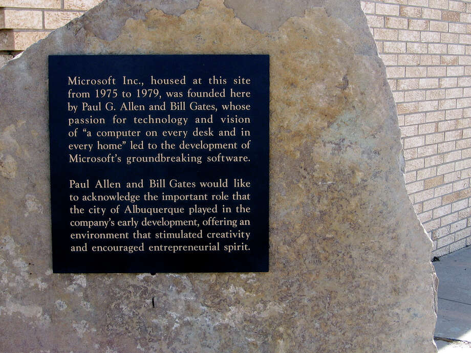 The plaque commemorating Microsoft's founding in Albuquerque, N.M., is shown on May 13, 2007, before it was stolen. Photo source Photo: Marcin Wichary/flickr