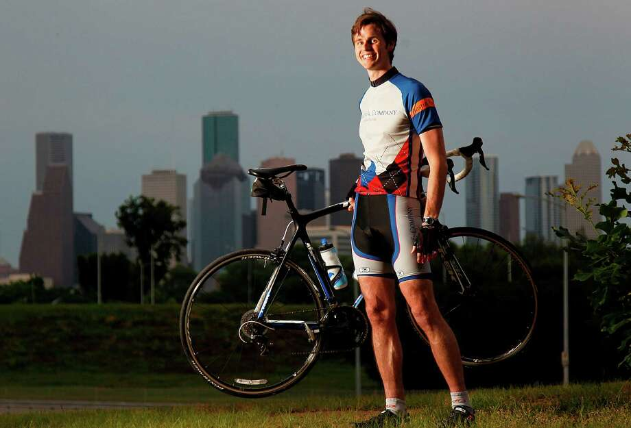 Former UT football player Dallas Griffin has geared up to go the distance in this weekend's BP MS 150 from Houston to Austin after being diagnosed last year with multiple sclerosis. Photo: Mayra Beltran / © 2012 Houston Chronicle