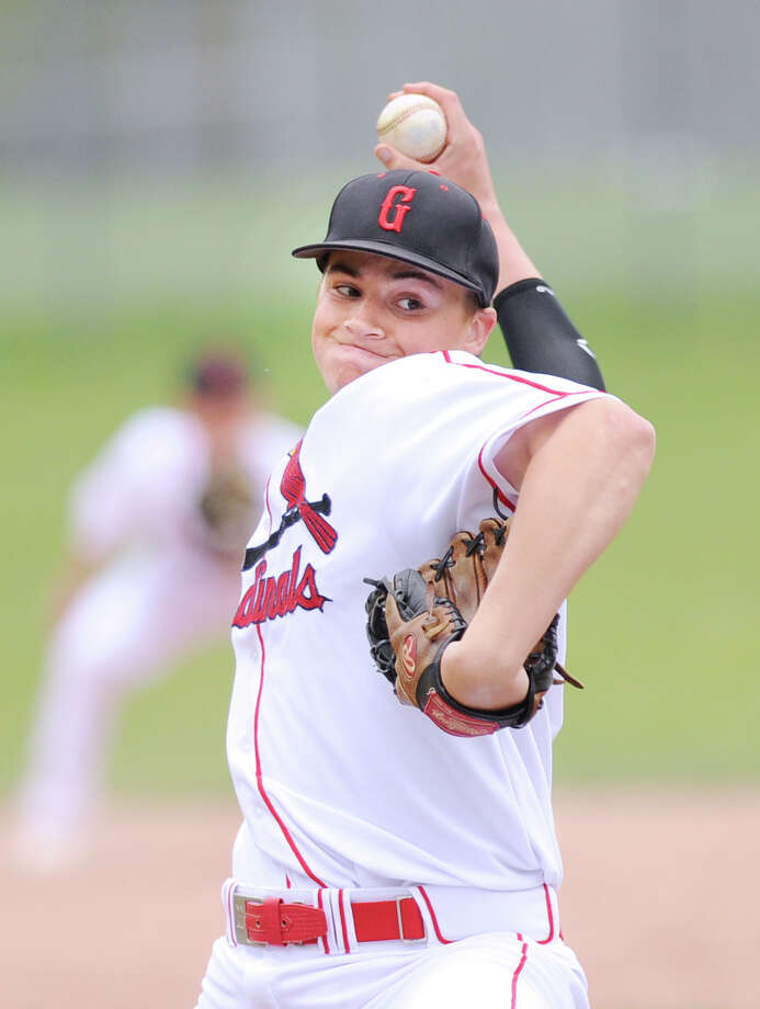 Casey Gaynor of Greenwich High School throws during high school baseball game between Brien McMahon and Greenwich at Greenwich, Wednesday, April 18, 2012. Greenwich won the game 4-0.  Gaynor gave up just one hit over six innings to earn the win. Photo: Bob Luckey / Greenwich Time