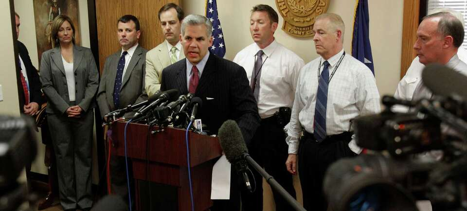 Montgomery County District Attorney, Brett Ligon speaks during a media conference Wednesday, April 1