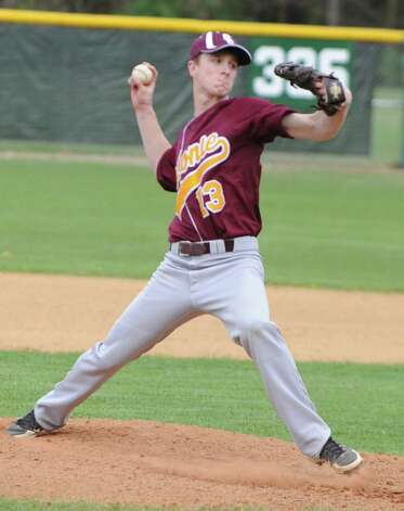 Colonie's Jeremy Hoffman pitches the ball during a baseball game against Shenendehowa on April 18, 2012 in Clifton Park, N.Y. (Lori Van Buren / Times Union) Photo: Lori Van Buren