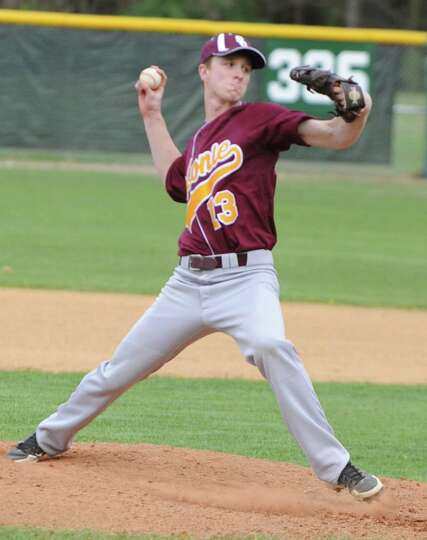 Colonie's Jeremy Hoffman pitches the ball during a baseball game against Shenendehowa on April 18, 2