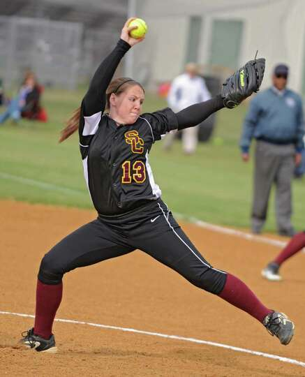 Colonie pitcher Kelly Lane throws the ball during a softball game against Shenendehowa on April 18,