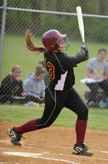 Colonie's Kelly Lane hits a single during a softball game against Shenendehowa on April 18, 2012 in