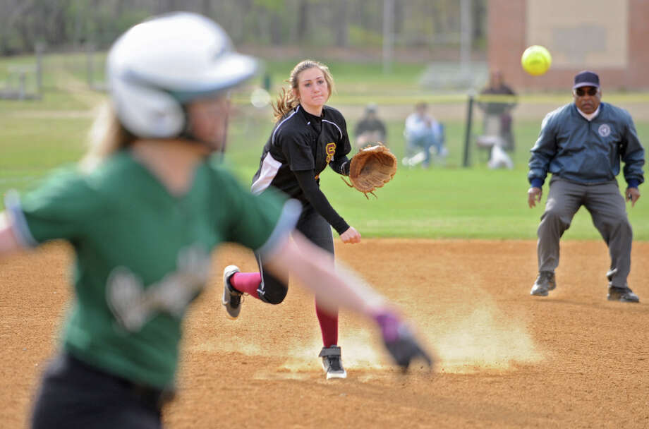 Colonie shortstop Stephanie Reinhardt throws the ball to first base during a softball game against Shenendehowa on April 18, 2012 in Clifton Park, N.Y. (Lori Van Buren / Times Union) Photo: Lori Van Buren
