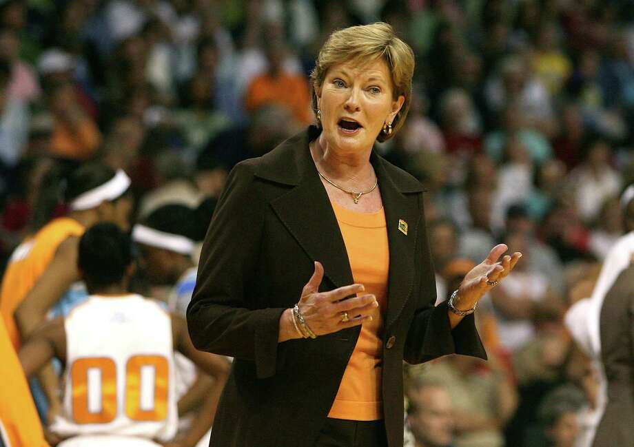 """TAMPA, FL - FILE:  Head coach Pat Summitt of the Tennessee Lady Volunteers reacts in the first half against the LSU Lady Tigers during their National Semifinal Game of the 2008 NCAA Women's Final Four at St. Pete Times Forum April 6, 2008 in Tampa, Florida. It was reported on April 18, 2012 that Pat Summitt is stepping aside as Tennesseeâ?TMs womenâ?TMs basketball coach and taking the title of """"head coach emeritus"""", this comes after she was diagnosed with early onset dementia-Alzheimers.  (Photo by Doug Benc/Getty Images) Photo: Doug Benc / 2008 Getty Images"""