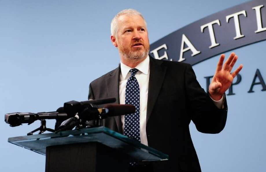 Seattle Mayor Mike McGinn, shown here at an April 18 press briefing, had his house vandalized after he issued a proclimation of civil emergency Tuesday to try and stop anarchist violence. (Lindsey Wasson/seattlepi.com)