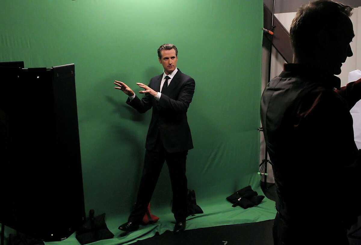 """California Lt. Governor Gavin Newsom jokes around between takes while cutting some promotional clips at the Current TV studios in San Francisco, Calif., on Wednesday, April 18, 2012. San Francisco-based Current TV has turned to a new and photogenic host to spice up its lineup â€"""" Newsom, just weeks after its high profile split with talk show host Keith Olbermann."""