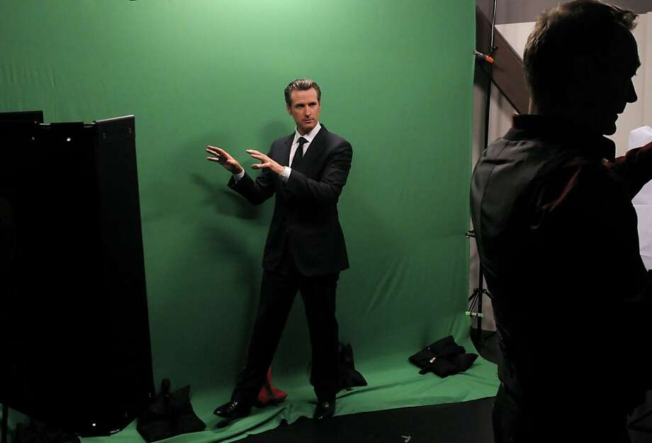 California Lt. Governor Gavin Newsom jokes around between takes while cutting some promotional clips at the Current TV studios in San Francisco, Calif., on Wednesday, April 18, 2012. San Francisco-based Current TV has turned to a new and photogenic host to spice up its lineup — Newsom, just weeks after its high profile split with talk show host Keith Olbermann. Photo: Carlos Avila Gonzalez, The Chronicle