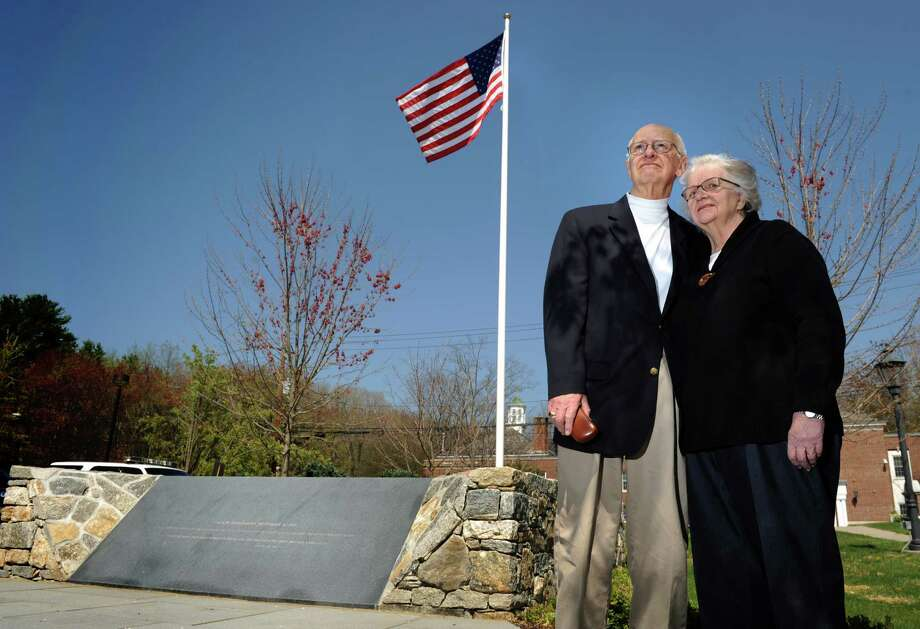 Lee and Eunice Hanson, the parents of Peter Hanson, who died with his wife and daughter on United Airlines Flight 175, stand beside the newly constructed 9/11 memorial in Easton, Conn.  The town will hold a dedication ceremony on June 3. Photo: Autumn Driscoll / Connecticut Post