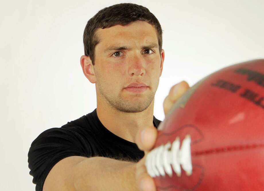 Stanford quarterback Andrew Luck poses for a portrait during the NFL combine, Sunday, February 26, 2012, in Indianapolis. Photo: AP