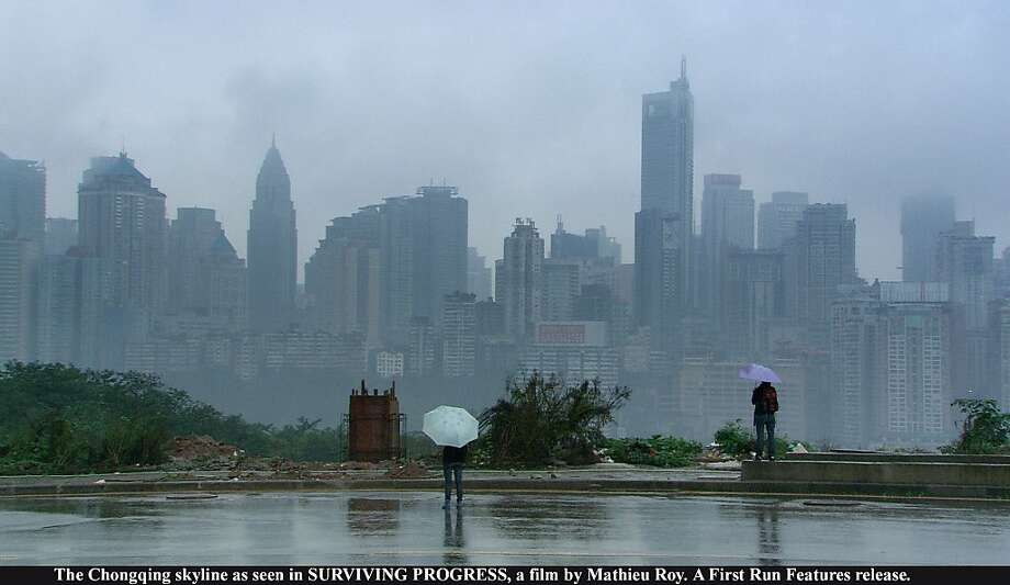 The Chongqing skyline as seen in SURVIVING PROGRESS, a film by Mathieu Roy. A First Run Features release. Photo: First Run Features