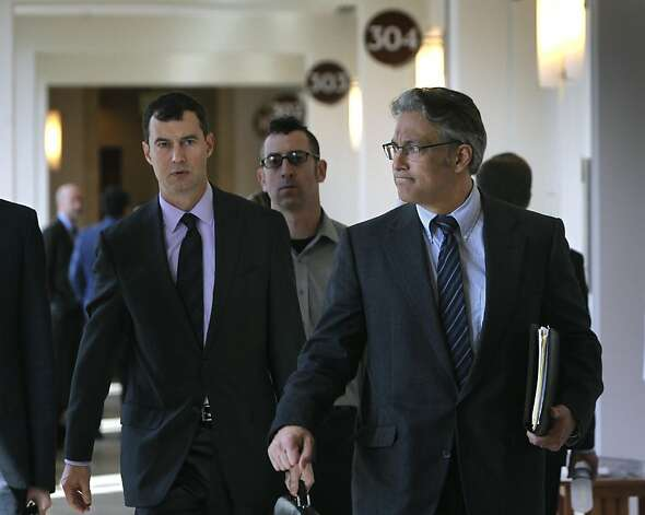 Ross Mirkarimi leaves Judge Harold E. Kahn's courtroom with his attorney Shepard Kopp (left) in San Francisco, Calif. on Thursday, April 19, 2012, after the judge denied their request to remove City Attorney Dennis Herrera's office from the misconduct case against Mirkarimi, citing an alleged conflict of interest. Photo: Paul Chinn, The Chronicle
