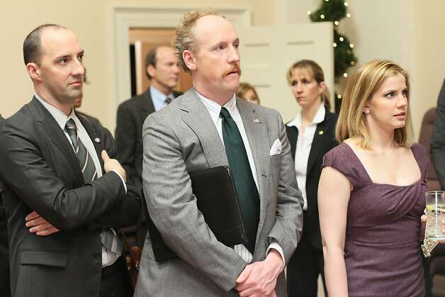 VEEP: Tony Hale, Matt Walsh, Anna Chlumsky. Photo: Bill Gray, HBO