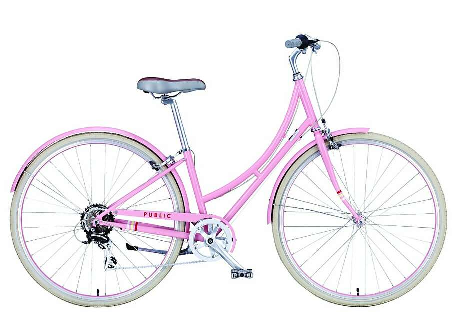 The PUBLIC C7 available in new 2012 Spring colors - pink and blue. This lightweight seven-speed bike designed for stop-and-go city riding and is well suited for those who wear skirts, carry extra weight on the rear rack, or prefer not to swing a leg over a typical frame crossbar. Photo: PUBLIC Bikes