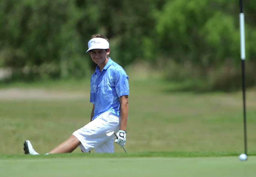Mitchell Meissner of Alamo Heights reacts as his ball goes wide of the pin during the Region IV-4A boys golf championship at the Golf Club of Texas on Thursday, April 19, 2012.