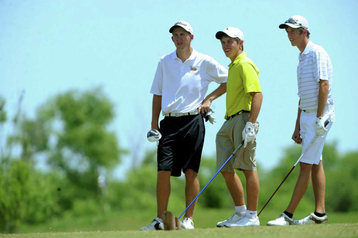 Beau Coleman, left, of Calallen, Kirby Gorzell of Smithson Valley and Chase Phillips of Austin Vandergrift prepare to tee off on the 18th during the Region IV-4A boys golf championship at the Golf Club of Texas on Thursday, April 19, 2012.