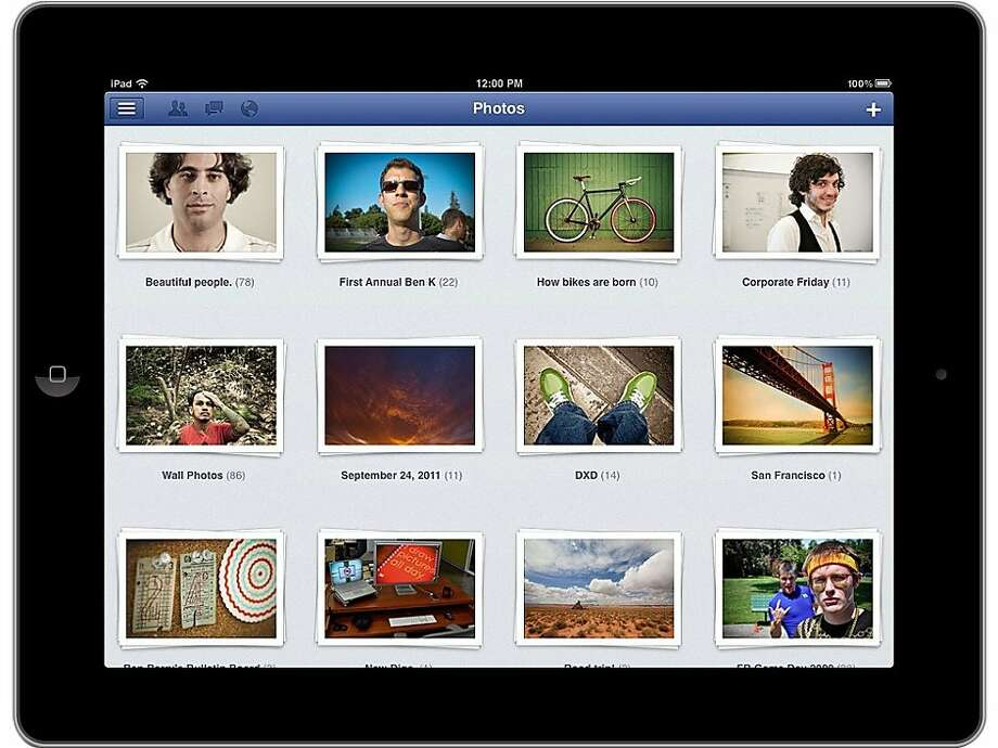 This product image provided by Facebook shows the Facebook application as shown on an iPad screen.  Facebook is releasing an updated version of its iPhone application on Monday afternoon, Oct. 10, 2011, one that's also designed to fill out the larger screen of the iPad. Like the previous iPhone version, it's free. Photo: AP
