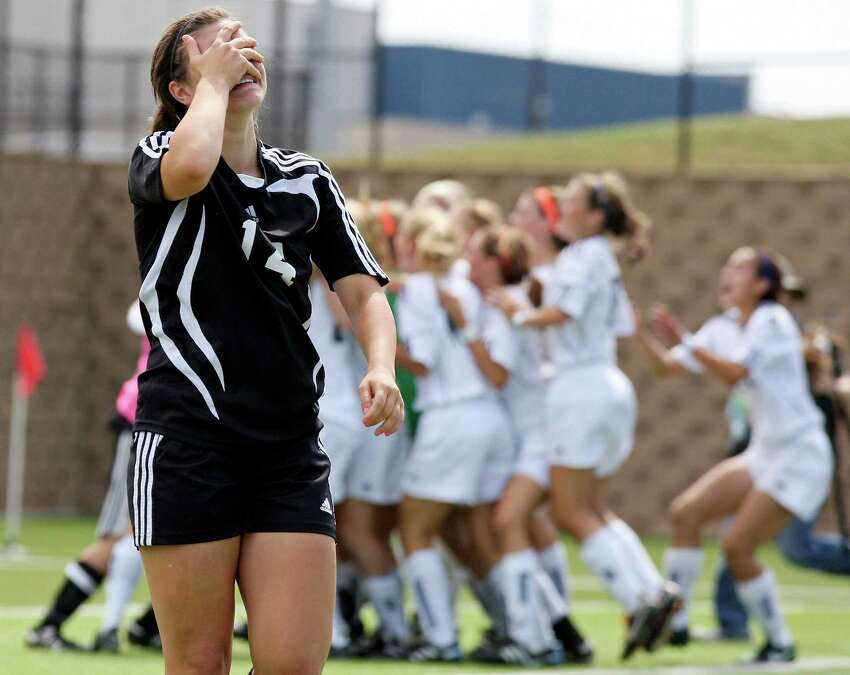 Churchill's Rachel Gurinsky cries after her shootout attempt was blocked by Katy Seven Lakes' Kylie Hambleton (not pictured) during their Class 5A state semifinal game held Thursday, April 19, 2012 at Birkelbach Field in Georgetown. Katy Seven Lakes defeated Churchill 2-1 won in a shootout.