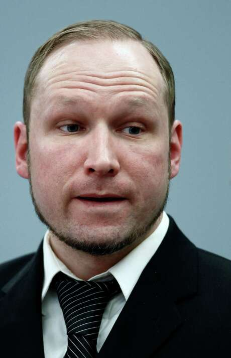 Defendant Anders Behring Breivik seen during the fourth day of proceedings in the courthouse in Oslo, Norway, Thursday April 19, 2012.  Confessed mass killer Anders Behring Breivik testified Thursday that he had planned to capture and decapitate former Norwegian Prime Minister Gro Harlem Brundtland during his shooting massacre on Utoya island. (AP Photo / Erlend Aas) Photo: Erlend Aas / NTB scanpix