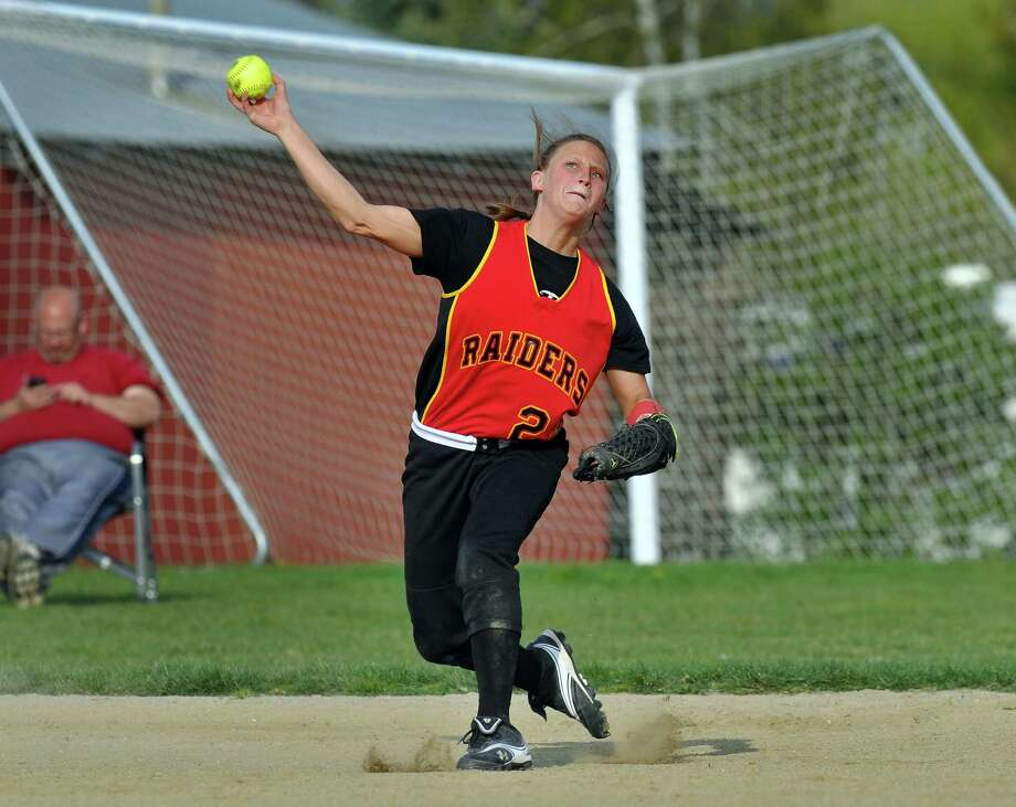 Mechanicville shortstop Alysa Russell throws to first for an out, during their victory over Schalmont on Thursday April 19, 2012 in Mechanicville, NY.  (Philip Kamrass / Times Union ) Photo: Philip Kamrass / 00017289A
