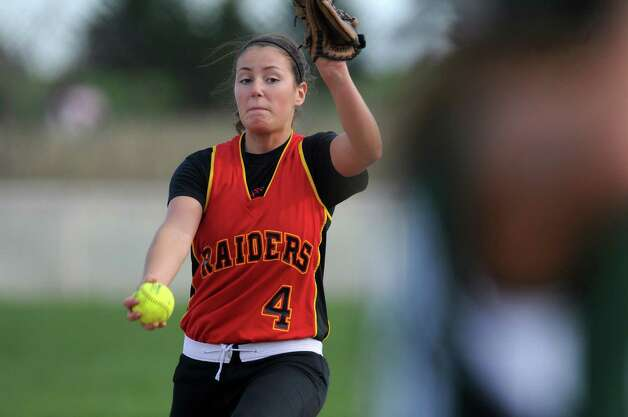 Mechanicville's Kirstyn Alonzo delivers a pitch during their victory over Schalmont on Thursday April 19, 2012 in Mechanicville, NY.  (Philip Kamrass / Times Union ) Photo: Philip Kamrass / 00017289A