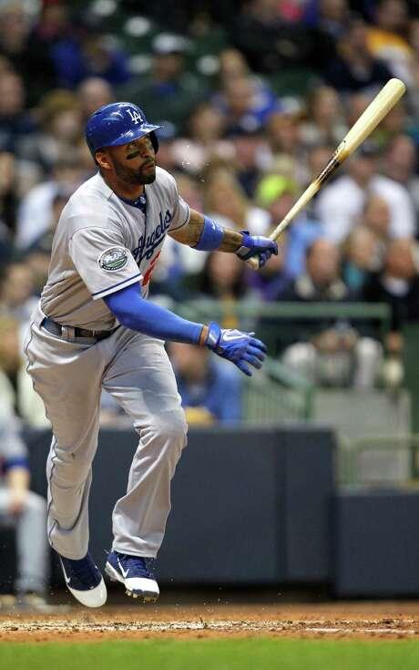 The Dodgers' Matt Kemp belts his seventh home run of the season. Photo: AP