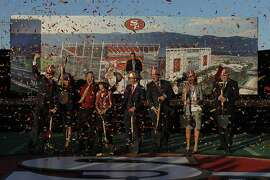 49ers ownership and Santa Clara elected officials broke ground on the new site of the 49ers Stadium in Santa Clara, Calif., on Thursday, April 19, 2012.